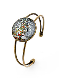 Lureme® Simple Jewelry Time Gem Series Notes Tree Disc Charm Open Bangle Bracelet for Women and Girl