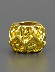 diy de contas pulseira colar acessórios vácuo chapeamento de ouro 18 quilates bater moda grande buraco talão hac0039
