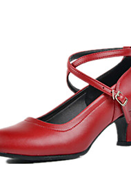 Women's Dance Shoes Heels Breathable Leather Chunky Heel Black/Red/Silver