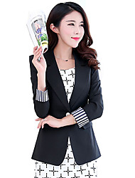 Women's Solid Pink / Black Blazer,Vintage Shirt Collar Long Sleeve