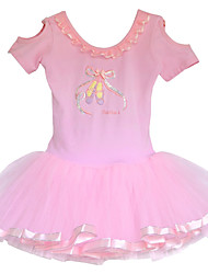 Baby Girls Pink Fancy Princess Ballet Printed and Shoes Pattern Gymnastic Leotard Performance Tutu Dancewear for 3-8Y