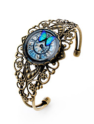 Lureme® Vintage Jewelry Time Gem Series Butterfly and Clock Antique Bronze Hollow Flower Open Bangle Bracelet for Women
