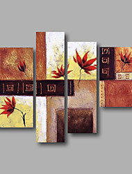 "Stretched (ready to hang) Hand-painted Oil Painting 48""x40"" Canvas Wall Art Modern Flowers Brown Beige"