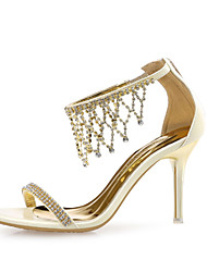 Women's Shoes Leather / Glitter Stiletto Heel Heels Sandals Wedding / Party & Evening / Dress Silver / Gold