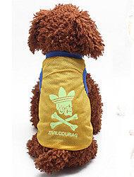 Hunde T-shirt Gelb Hundekleidung Sommer / Frühling/Herbst einfarbig Modisch