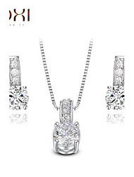 Lady's Silver Crystal Jewelry Set include Necklace & Earrings for Gift