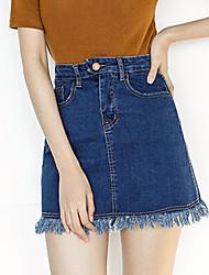 Women's Solid Blue Skirts,Vintage / Simple Mini