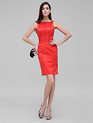 TS Couture® Dress - Ruby Sheath/Column Bateau Knee-length Satin