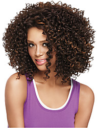 Fashionable Women's Glueless Deep Brown Mix Curly Short Hair Wig for African American