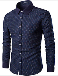 Men's Print Casual Shirt,Cotton Long Sleeve Blue / Red