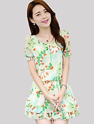 Women's Simple Sheath Dress,Print Round Neck Above Knee Short Sleeve Green / Yellow Polyester Summer