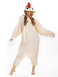 Kigurumi Pijamas New Cosplay® Galo/Galinha Collant/Pijama Macacão Festival/Celebração Pijamas Animais Dia das Bruxas Bege Cor ÚnicaLã