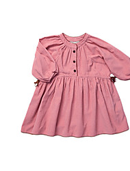 Girl's Brown / Pink Dress Cotton Spring / Fall