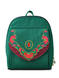 Women Canvas Shell Backpack / School Bag-Green