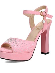 Women's Shoes Chunky Heels/Platform/Sling back/Open Toe Rhinestone Sandals Wedding Shoes/Party & Evening/Dress Blue/Pink
