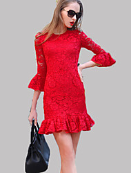 Women's Vintage Lace Dress,Solid Round Neck Above Knee ¾ Sleeve Red / Black Polyester Summer