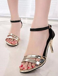 Women's Shoes Patent Leather Stiletto Heel Heels / Open Toe Sandals Office & Career / Dress Black / White / Gold