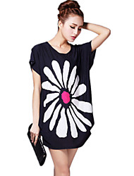Women's Going out Street chic Summer T-shirt,Print Round Neck Short Sleeve Black Rayon Thin