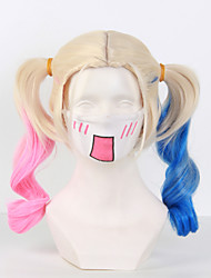 Movie Suicide Squad Harley Quinn Women's Long Curly Bunches Anime Cosplay Wig