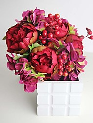 Chinese Style Wedding Bouquet Red Hydrangeas and Peonies Bridal Bouquet