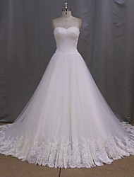 A-line Wedding Dress Cathedral Train Sweetheart Lace / Tulle with Appliques / Criss-Cross