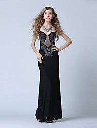 Formal Evening Dress Trumpet / Mermaid V-neck Floor-length Charmeuse / Sequined with Sequins