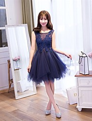 A-Line Scoop Neck Knee Length Lace Prom Dress with Flower