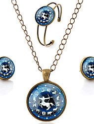 Lureme® Time Gem The Zodiac Series Simple Vintage Style Sagittarius Pendant Necklace Stud Earrings Bangle Jewelry Sets