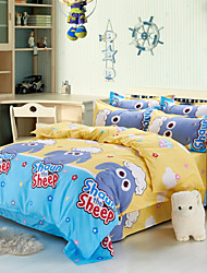 Yuxin®Brushed Cotton Super Soft Aloe Cartoon Family of Four Bedding Linen Quilt  Bedding Set