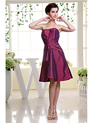 Knee-length Taffeta Bridesmaid Dress A-line Strapless with Side Draping