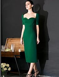 De las mujeres Vaina Vestido Simple Un Color Midi Asimétrico Poliéster