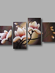 "Ready to Hang Stretched Hand-painted Oil Painting 64""x44"" Canvas Wall Art Modern Flowers light Pink Magnolia"
