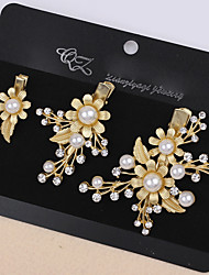Lady's Baroque Style Gold Leaf Olive Crystal Pearl Barrette Clip Hair Jewelry for Wedding Party (Set of 3)