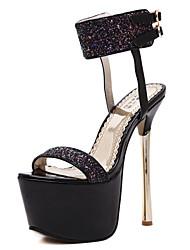 Women's Shoes Glitter Stiletto Heel Heels / Open Toe Sandals Wedding /  Party & Evening / Dress Black / White