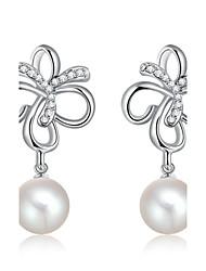 Women's Fashion Clover Set Auger Pearl Drop Earrings