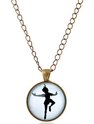 Men's Women's Couple's Pendant Necklaces Gemstone Glass Alloy Simple Style Silver Bronze Jewelry Party Daily Casual 1pc
