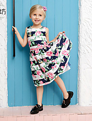 Girl's Multi-color Dress,Floral Cotton Summer