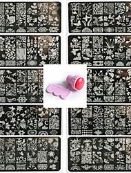 10pcs nail art pattren dentelle joint modèle de clou donnent 1 jeu outil de joint 12x6cm