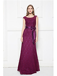 Floor-length Lace Bridesmaid Dress - A-line Scoop with Bow(s) / Lace / Sash / Ribbon