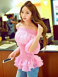 Women's Solid Pink Blouse,Off Shoulder ½ Length Sleeve