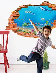 Animals Fish Wall Sticker  Landscape / People Wall Stickers 3D Wall Stickers,pvc 60*90cm