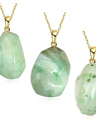 MISSING U Women's Irregular Natural Pure Crystal Agate Stone 18K Gold Plated Pendant Necklace Jewelry