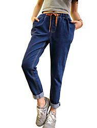 Pantalon Aux femmes Jeans Street Chic Coton Micro-élastique