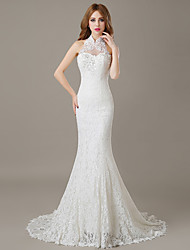 Trumpet / Mermaid Wedding Dress Floral Lace Court Train Halter Lace with Lace Appliques Beading Crystal