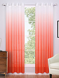 Two Panels Modern Solid Orange Living Room Polyester Panel Curtains Drapes 52 inch Per Panel