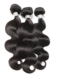 """3 peças / lote 8 """"-26"""" cabelo virgem naturais onda corpo negro brasileiro matérias não transformados extensões de cabelo humano bundles"""