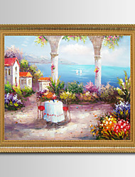 Framed Mediterranean Landscape Oil Painting , Wall Art,Wood