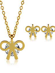 Jewelry Set Stainless Steel Zircon Titanium Steel Fashion Bowknot Golden Necklace/Earrings Wedding Party Daily Casual 1setNecklaces
