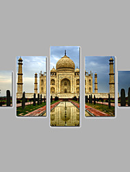 Architecture Canvas Print Five Panels Ready to Hang,Vertical For Living Room With Cotton Drawing(No Frame)