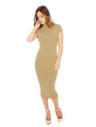 Women's Simple Club Solid Slim Fashion Bodycon Dress,Crew Neck Midi